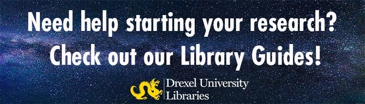 The milkway is in the background, with the following text over top: Need help starting your research? Check out our Library Guides!