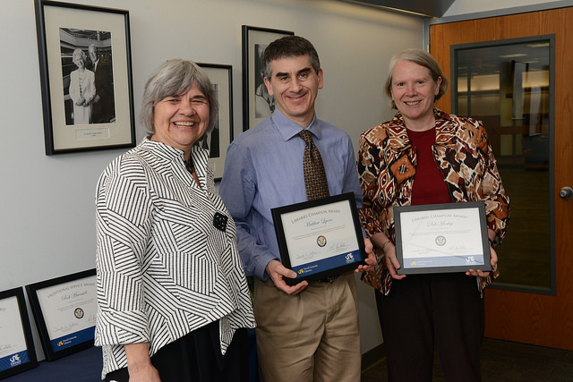 Danuta A. Nitecki, Dean of Libraries, poses with Matthew Lyons and Deb Morley during the Libraries Celebration Awards. Matthew and Deb hold their certificates.