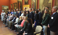 Authors stand and sit in the AJ Drexel Picture Gallery during the 2016 Celebrating Drexel Authors Event