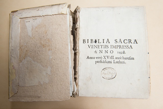 A book with a broken spine from the Libraries' archives