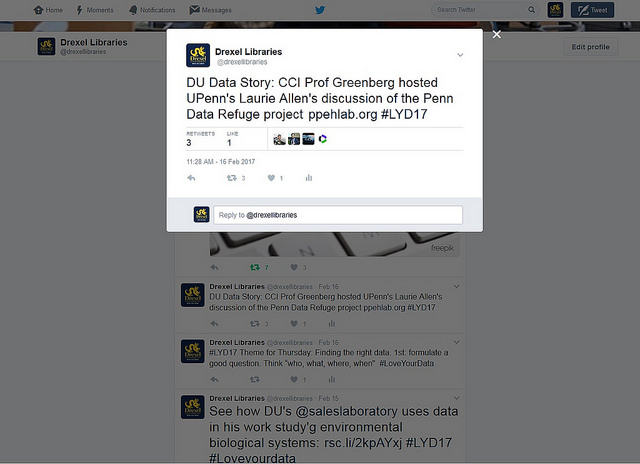 screenshot of DUL twitter post that reads DU Data Story: CCI Prof greenberg hosted Upenn's Laurie Allen's discussion of the Penn Data Refuge Project #LDY17