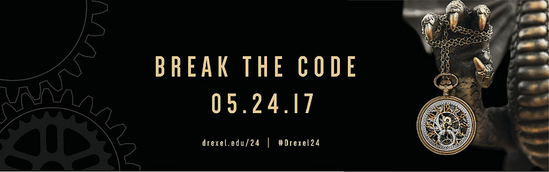 2017 day of giving logo with text that says break the code 05.24.17. Logo is a dragon claw holding a watch