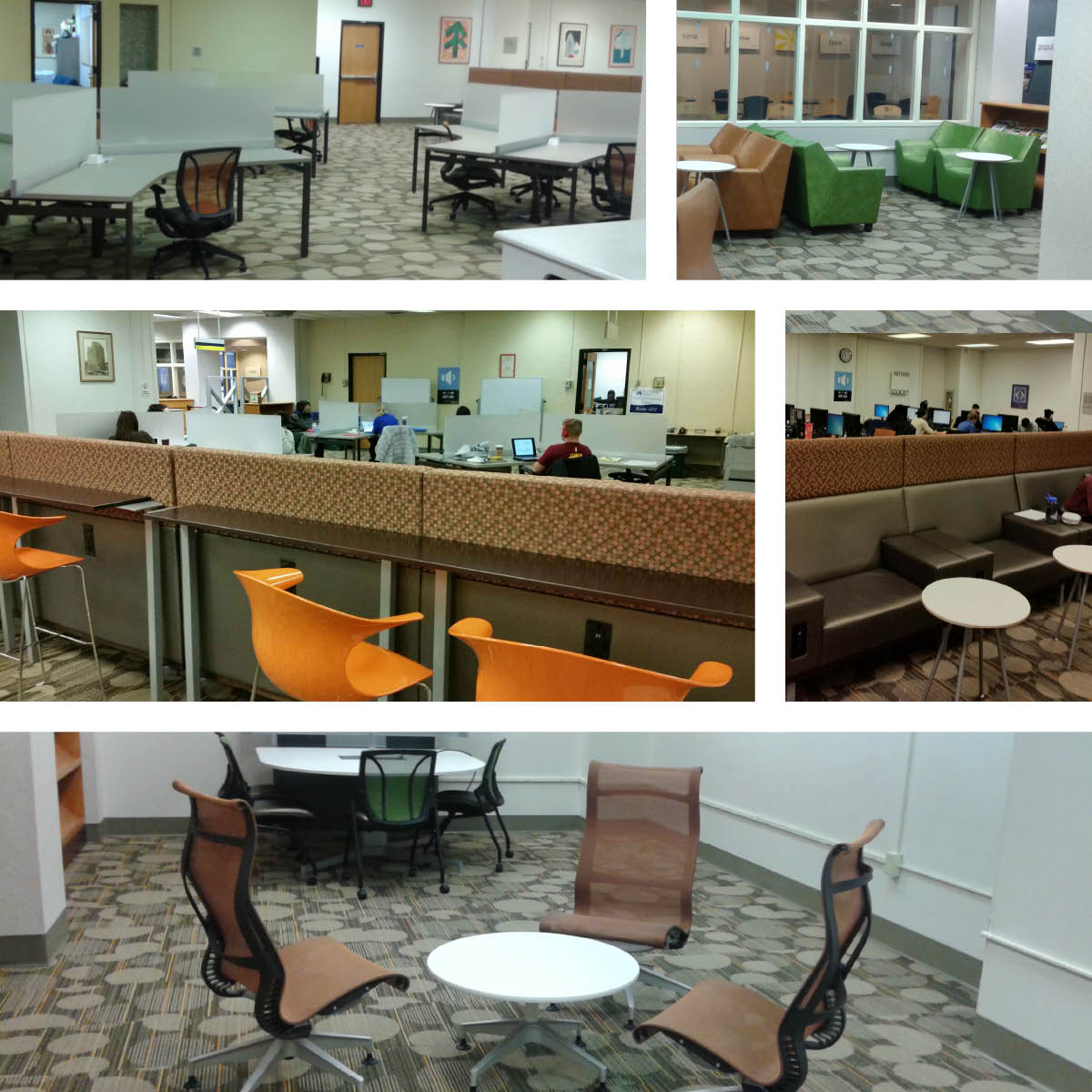 A collage of 6 images of upgrades made in Hahnemann Library. Top: new desks and new chairs, middle: new 'bar'seating and hightop chairs; Bottom: new group or solo study chairs and tables