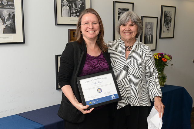 Danuta A. Nitecki, Dean of Libraries, presents an award to Holly Tomren during the 2017 Library Celebration Awards event