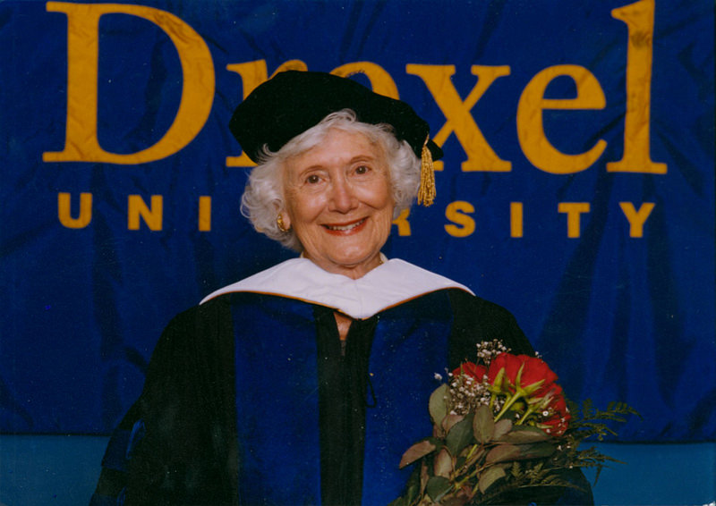 Mrs. Hagerty poses in her cap and gown after she was awarded an honorary doctorate from Drexel University.