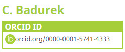 Screenshot of Librarian Chris Badurek's ORCID number