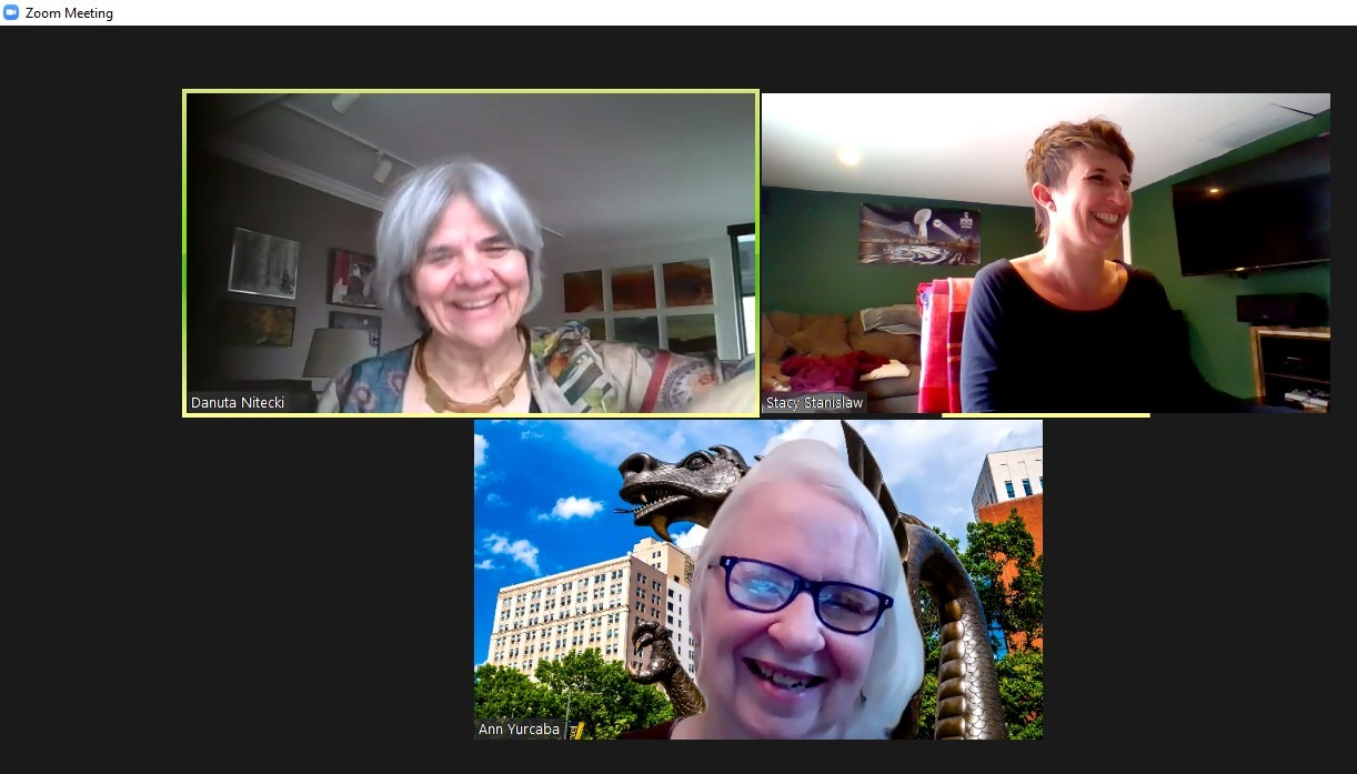 A screenshot of a Zoom meeting with three women from the Libraries staff.