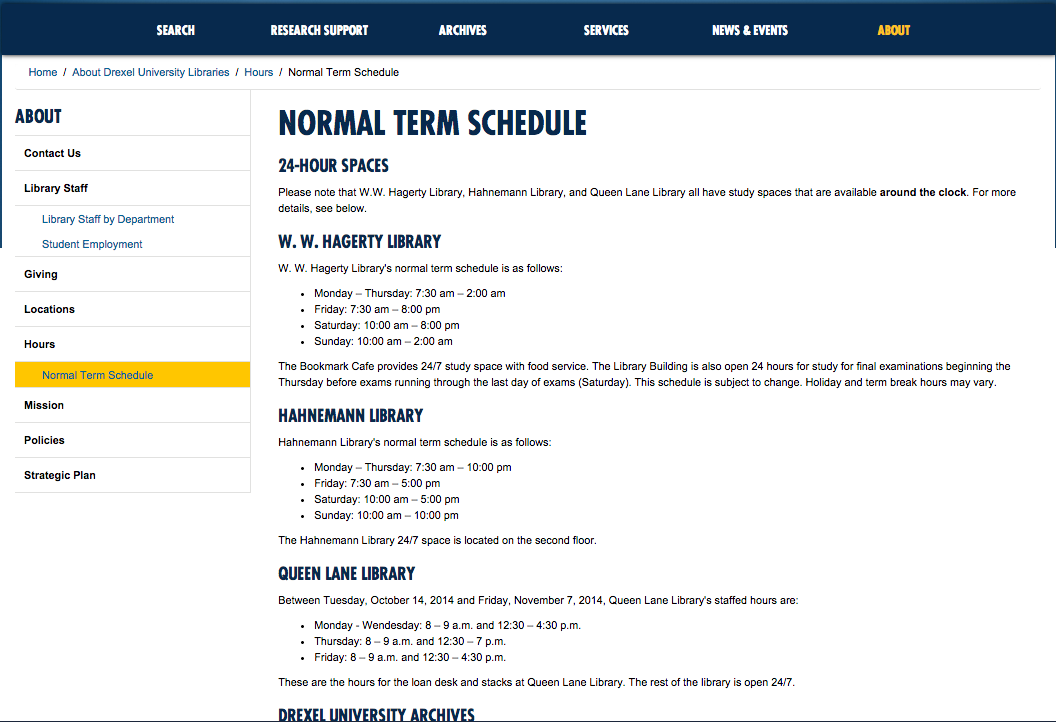 screenshot of normal term hours webpage from DUL website
