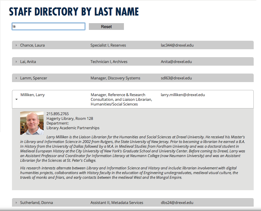 Screenshot of staff directory search page on DUL website