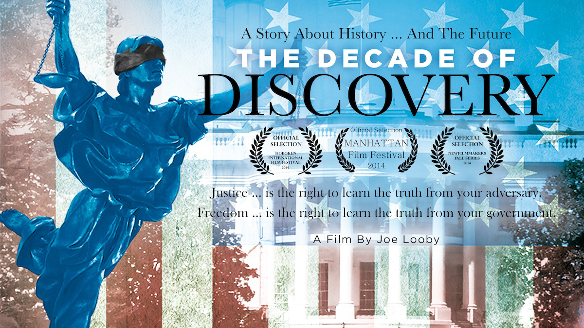 The Decade of Discovery film cover with a blindfolded statue