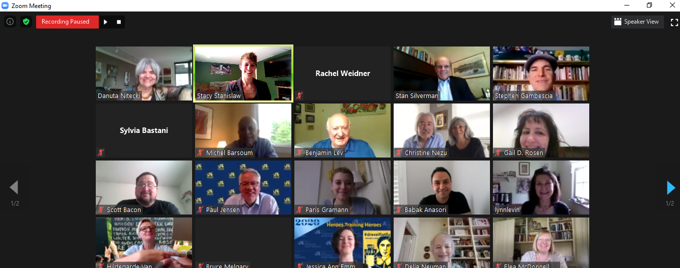 A screenshot of people attending an online Zoom session