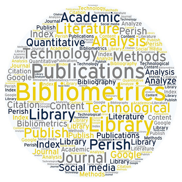 a word bubble for bibliometrics that includes words like technology, publications, library, perish, journal