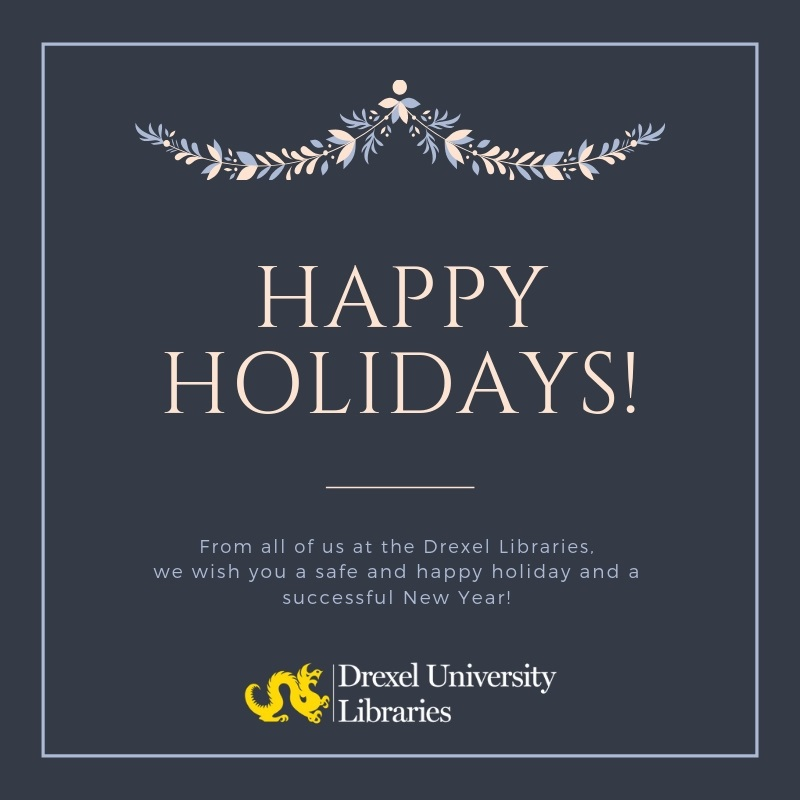 DUL logo with a holiday wreath and holiday message