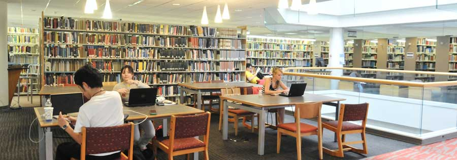 Four students working in the W. W. Hagerty Library (second floor).