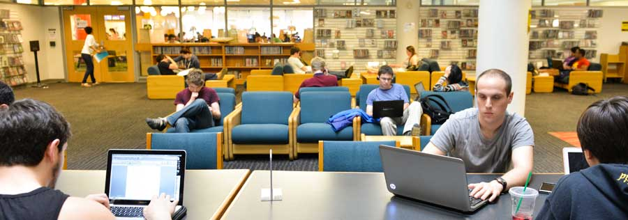 Students working on the ground floor of W. W. Hagerty Library.